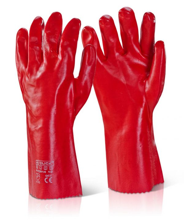 Pvc Red 14 Chemical Resistant Work Gloves Eton Safety